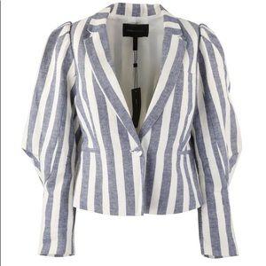 BCBGMaxazria Blue/Cream Striped Puff Sleeve jacket